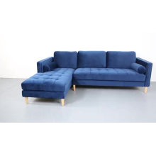 Navy Blue Velvet Upholstery Corner Couch Living Room Furniture Right Chaise Lounge Sectional Sofa Modern