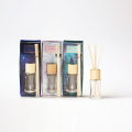 30ml reed diffuser in round glass bottle with wood lid in box for home