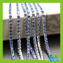 cadena de plata cristalina de la taza del color del zafiro del diamante artificial de los diamantes de imitación para los zapatos