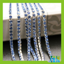 diamond rhinestones sapphire color crystal silver cup chain for shoes