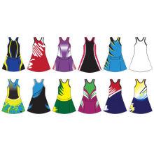 Promotional Women Polyester Netball Uniforms Sublimated Sportswear Bodysuit