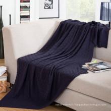 15PKBL03 2016 à tricoter le câble pour la couverture de jeter la laine de coton snap