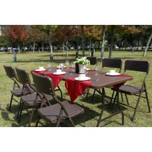 New Design Hotel Rattan cadeira e mesa, ao ar livre usado plástico pluma Rattan mesa de vime
