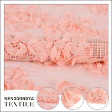 Custom made pink chiffon embroidered floral fabrics for dresses