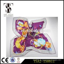 Lila Farbe Schal elegante Baum-Pfingstrose Muster Seide Schal Einfarbig für Verkauf