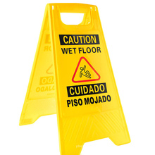 Plastic 2-sided yellow boardwalk caution sign for wet floor danger safety warning board