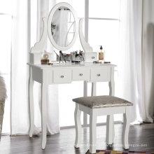 Weißer Schminktisch aus Holz mit Stuhl und fünf Schubladen für Schlafzimmer Weißer Schminktisch mit Stuhl und fünf Schubladen für Schlafzimmer