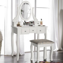 Wooden White Dressing Table With Chair and Five Drawers for Bedroom White Dressing Table With Chair and Five Drawers for Bedroom