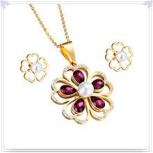 Bijoux en acier inoxydable Bijoux en cristal Ensemble de bijoux à la mode (JS0030)