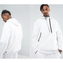 Round Collar Pullover White Hoodie