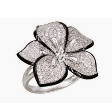 Micro Set 925 Sterling Silver Ring Jewelry com diamante