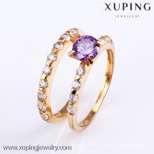 11478-Xuping chapado en oro pareja siempre ama el anillo de boda establecido