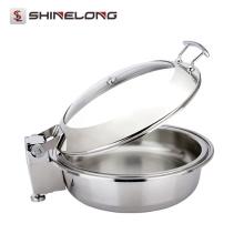 C058 Barato inoxidável de indução redonda de aço inoxidável Buffet Roll Top Electric Chafer Dish