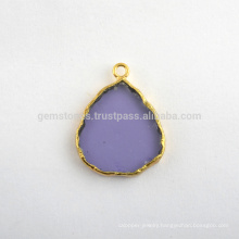 Handmade Amethyst Quartz Slice Gemstone Bezel Station Micron Gold Plated 925 Sterling Silver Bezel Connector and Charms
