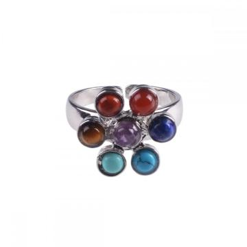 Natural 7 Chakra Gemstone Men Jewelry Ring