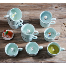 Creative Small Ceramic Milk Mug with Animals Cute Cartoon Inside