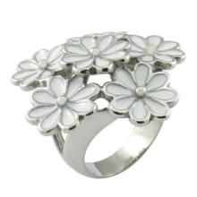 Resin Enamel Steel Bouquet Flower Christmas Women Ring