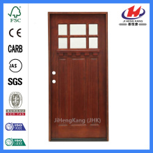 Jhk-G32-5 Pine Wood Door 3 Panel 6 Lite With Block Simulated Divided Lites And Clear Glass Wood Door