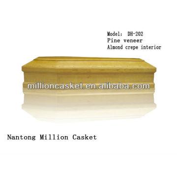 ataúd de madera de chapa de madera de pino sin accesorios de metal