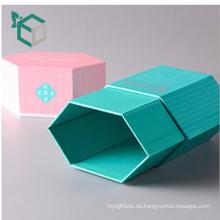 17 años de experiencia personalizada azul fresco color rosa impresión rígida forma de hexágono lápiz caja de regalo de embalaje