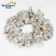 Süßwasser Keshi 5-7mm 3 Reihen 925 Sterling Silber Frauen Perlen Armband