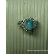 Joyería de plata Larimar natural en anillo (R0305)