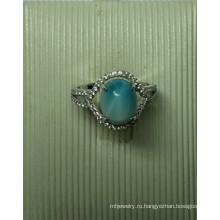 Ювелирные изделия стерлингового серебра природных Larimar в кольцо (R0305)