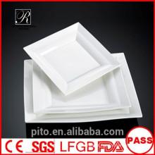 P & T fábrica de cerâmica, placas de jantar de porcelana, placas brancas quadradas, placas principais