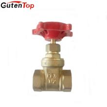 Válvula de puerta de cobre amarillo de alta calidad de Guten Top Handlewheel