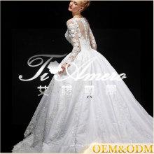 Ainuo professionnel sur mesure à manches longues robe de mariée robe de mariée de luxe 2017