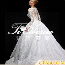 Ainuo professional custom made long sleeve Ball Gown luxury wedding dress 2017