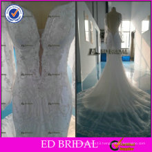 ED Elegant Sweetheart Design Beaded Sheath Long Sleeve Tulle Court Train Wedding Dresses 2017