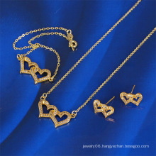 2016 Latest Heart Design 14k Gold Color Jewelry Set (61168)