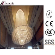 Hotel Lobby Hanging Crystal Ceiling Lamp with Stainless Steel