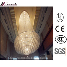 Lâmpada de teto de cristal de suspensão da entrada do hotel com aço inoxidável