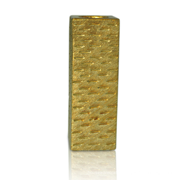 8.66 Inch Rectangle Gold Plating Ceramic Candlestick
