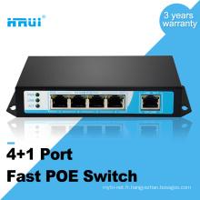HRUI fibre optique équipement caméra ip 10 / 100M 48v 4 ports poe commutateur