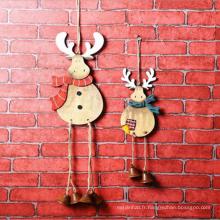 Décoration de Noël Mignon Wapiti En Bois Petit Pendentif Cloche pour La Maison