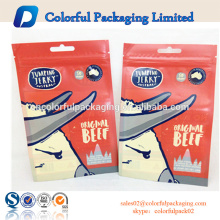 Accept custom colored zip lock plastic bag and hanger hole/three side seal zipper packaging with tear