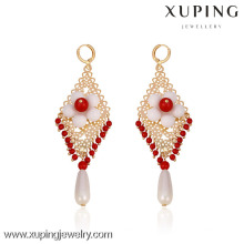 29369- Xuping Fashion Kronleuchter Schmuck Perlen Ohrringe mit Blume