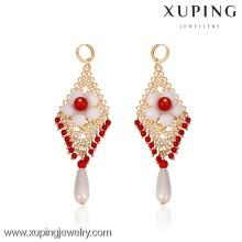29369- Xuping Fashion Chandelier Jewelry Aretes de cuentas con flores