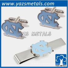 North carolina tar heels tie bars and cufflinks, custom made metal tie clip with design