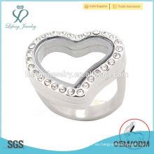 Anillos especiales de diseño corazón, cristal de acero inoxidable memoria flotante lockets anillos de joyería