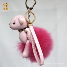 Neueste Stil Teddybär Fox Pelz Ball Schlüsselbund Handtasche Charms