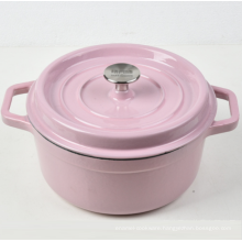 Pink Enamel Round Cast Iron Casserole with factory price