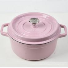 Caçarola redonda do ferro fundido do esmalte cor-de-rosa com preço de fábrica