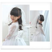 White Fancy Flower Girl A-Line Longo Scalloped Long Sleeve Custom Vestidos Girl Dress para casamento FG012 vestido de noiva para bebé