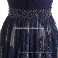 Vestido de noche sin respaldo del color azul de la nueva manera 2017 vestido profundo de la dama de honor de la longitud del piso del cuello en v para casarse