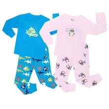 Summer Fashion Thin Cotton Children′s Home Wear Cartoon Seaworld Print Pajama Set