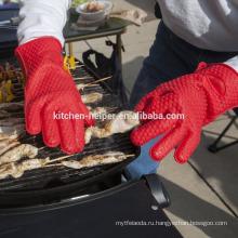 Пользовательские высокого качества Дешевые силиконовые жаропрочные духовки и барбекю перчатки FDA Standard / Силиконовый гриль печь BBQ перчатки / Mitt печи